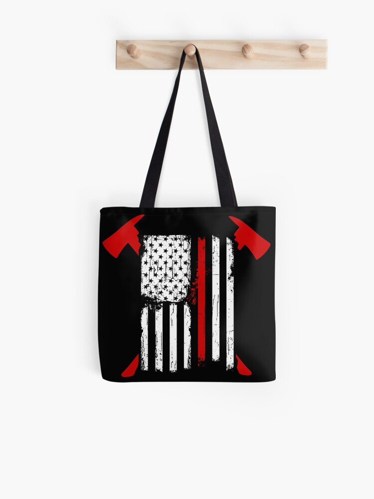 Firefighter Red Usa Flag Canvas Tote Shoulder Bag Tote Bag For Womens Black