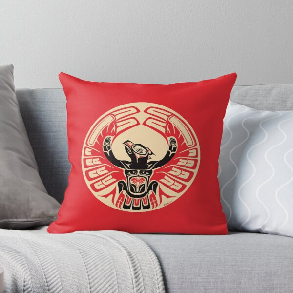 Firebird Phoenix Thunderbird with Raised Wings, Native American Style Throw Pillow