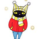Black Cat Bundled Up in Winter Hat, Scarf, Mittens, and Coat by ssStephG
