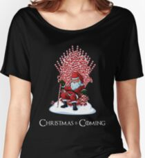 Christmas Is Coming Santa Candy Cane Throne T-Shirt Women's Relaxed Fit T-Shirt
