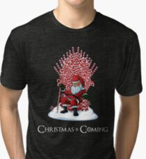 Christmas Is Coming Santa Candy Cane Throne T-Shirt Tri-blend T-Shirt