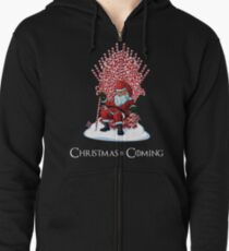 Christmas Is Coming Santa Candy Cane Throne T-Shirt Zipped Hoodie