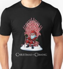 Christmas Is Coming Santa Candy Cane Throne T-Shirt Unisex T-Shirt
