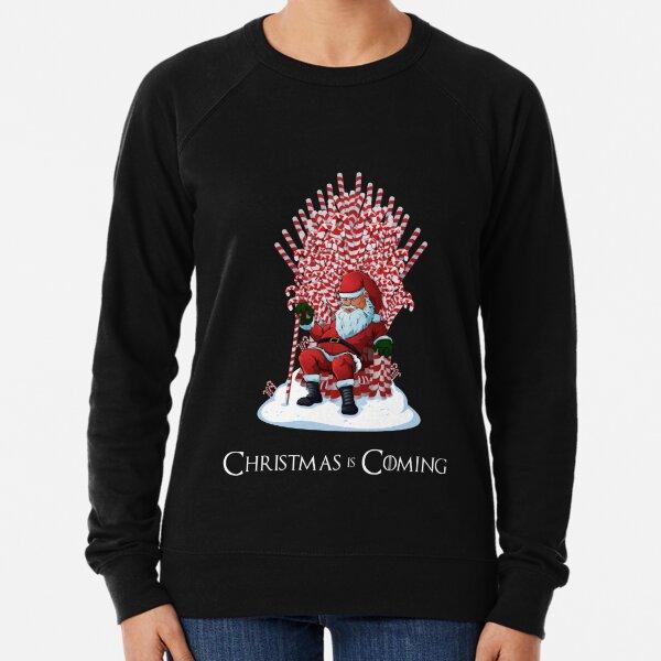 Christmas Is Coming Santa Candy Cane Throne T-Shirt Lightweight Sweatshirt