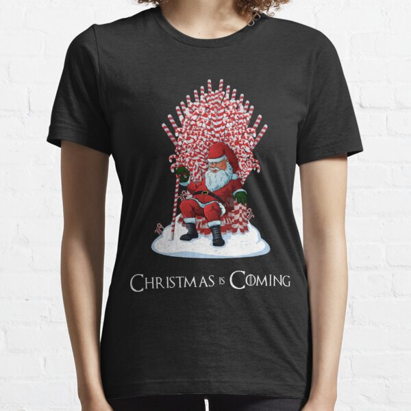 Christmas Is Coming Santa Candy Cane Throne T-Shirt Essential T-Shirt