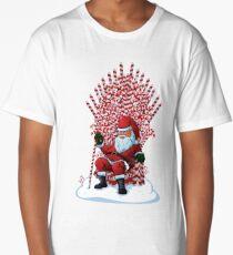 Christmas Is Coming Santa Candy Cane Throne T-Shirt Long T-Shirt