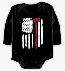 Firefighter Red Line American Flag With Fireman Axe Long Sleeve Baby One-Piece