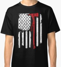 c22bb254bfdd3 Firefighter Red Line American Flag With Fireman Axe Classic T-Shirt