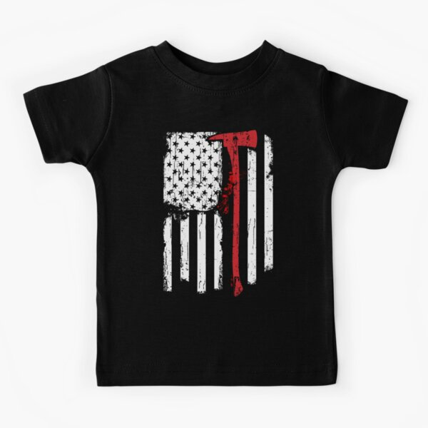 Firefighter Red Line American Flag with Fireman Ax Kids T-Shirt