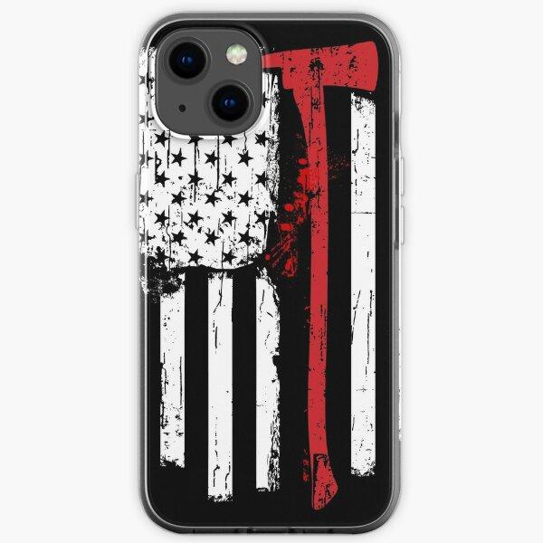 Drapeau américain de la ligne rouge des pompiers avec hache de pompier Coque souple iPhone