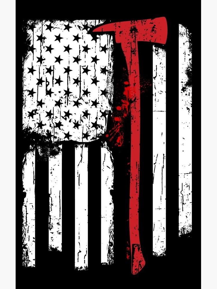 Feuerwehrmann Red Line American Flag mit Feuerwehrmann Axe von peaktee