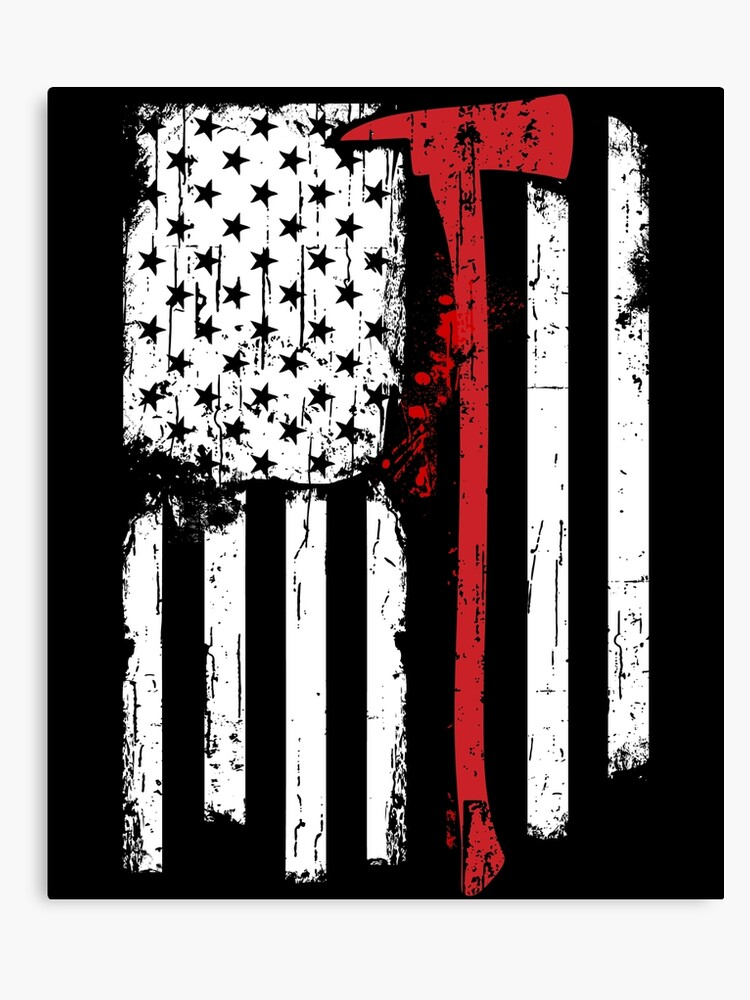 Red Line American Flag >> Firefighter Red Line American Flag With Fireman Axe Canvas Print