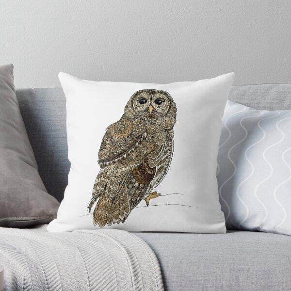 Barred Owl Tangle Throw Pillow