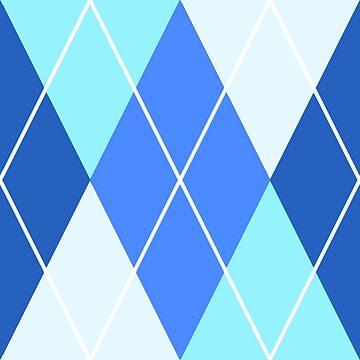 White and Blue Argyle Pattern by SaradaBoru