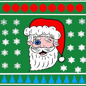 Winking Santa Head Christmas Sweater  by Rajee
