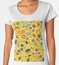 Butterflies, beetles and blooms - Yellow - pretty floral pattern by Cecca Designs  Women's Premium T-Shirt