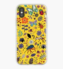 Butterflies, beetles and blooms - Yellow - pretty floral pattern by Cecca Designs  iPhone Case