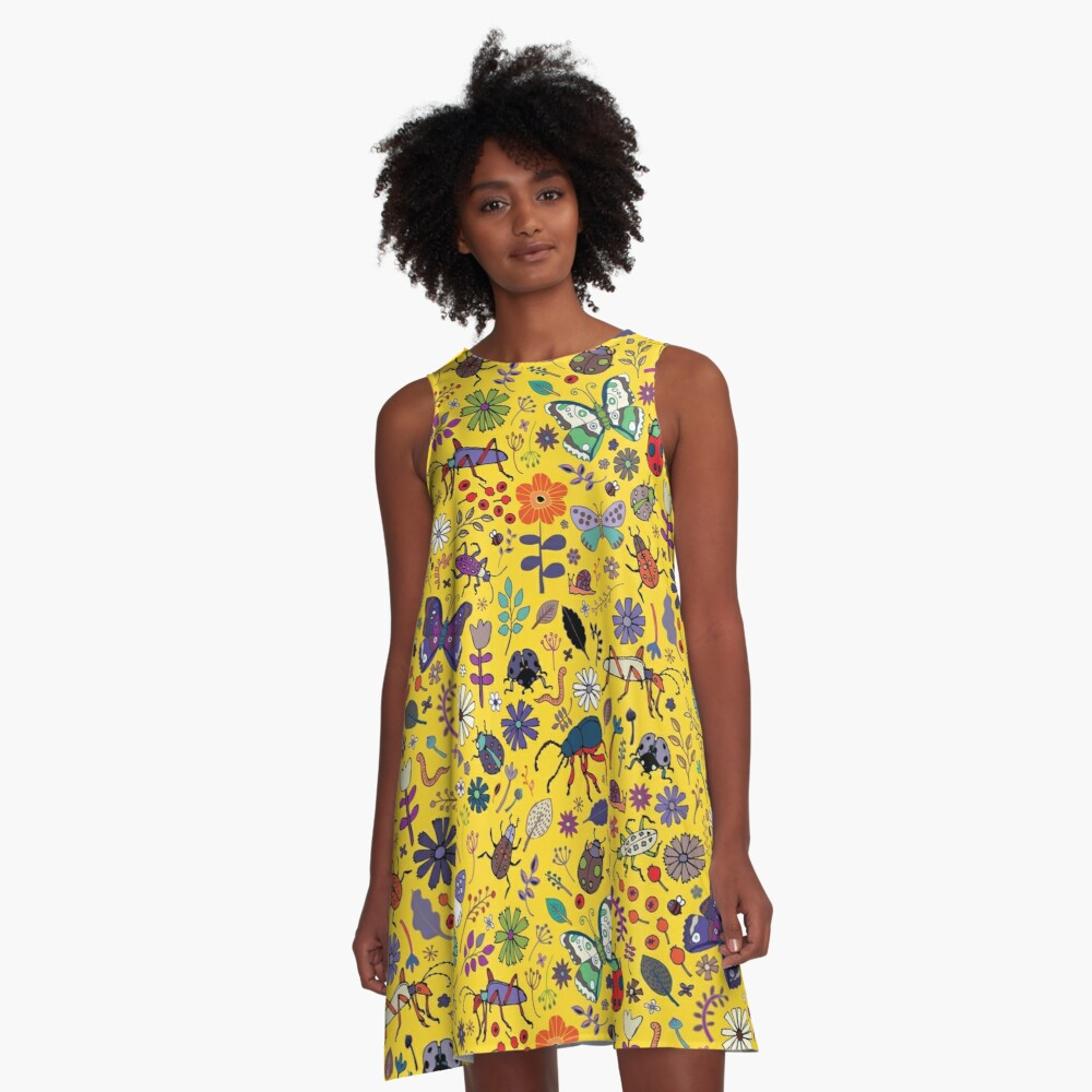 Butterflies, beetles and blooms - Yellow - pretty floral pattern by Cecca Designs  A-Line Dress