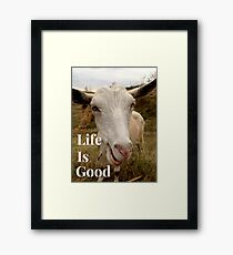 Life is good, crazy goat , funny animals Framed Print