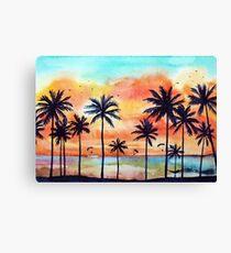Tropical orange sunset Canvas Print