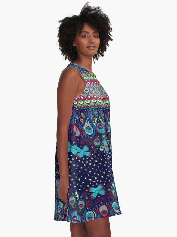 Alternate view of Midnight butterflies - Bohemian pattern by Cecca Designs A-Line Dress