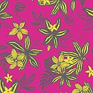 Tropical Flower - hot pink and canary yellow - fun floral pattern by Cecca Designs by Cecca-Designs