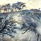 Good Friday, The Ridgeway, Oxfordshire - Original watercolour landscape by Francesca Whetnall  by Cecca-Designs