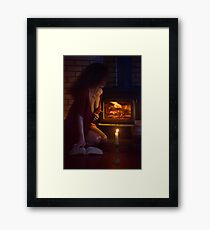 Sensual erotic portrait of beautiful sexy half naked woman sitting by the hearth with a book art photo print Framed Print