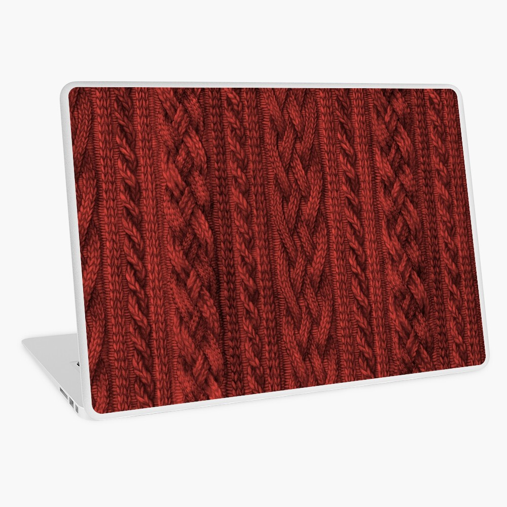 Cardinal Red Cable Knit Laptop Skin