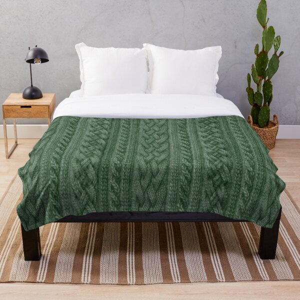 Pine Green Cable Knit Throw Blanket