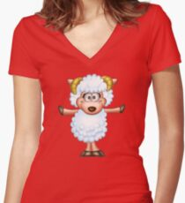 Cute sheep - Year of the Sheep 2015 Women's Fitted V-Neck T-Shirt