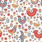 Muster nordischen Stil mit Blumen und Vögeln. von Skaska