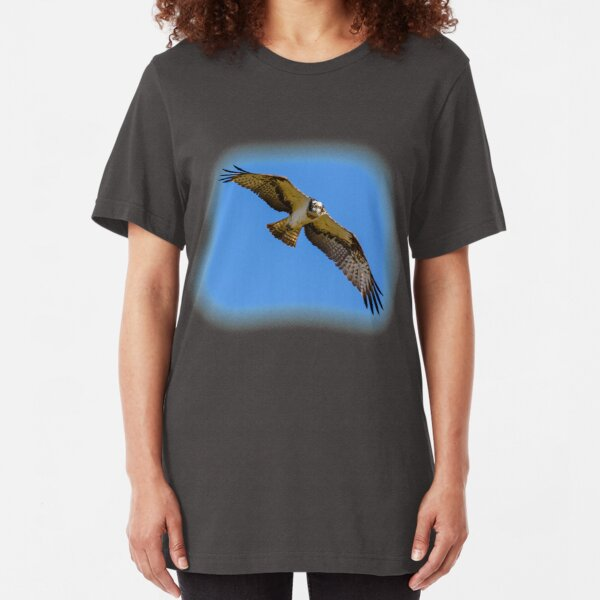 Flying osprey with a target in sight Slim Fit T-Shirt