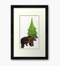 Bear & Tree (White Background) Framed Print