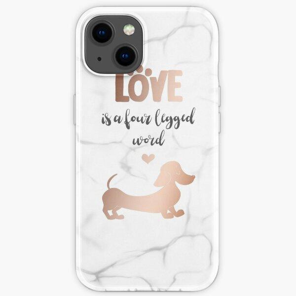 Rose Gold & Marble 'Love is a Four Legged Word' Smooth Hair Dachshund iPhone Soft Case