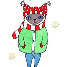 Cute Siamese Cat in Winter Scarf, Mittens, Hat, and Coat by ssStephG