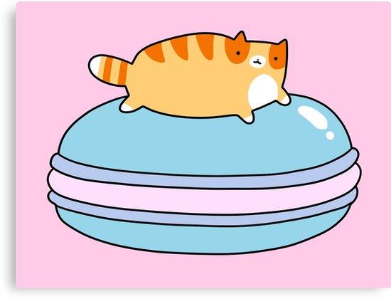 Orange Tabby Cat and Blue Macaroon by SaradaBoru
