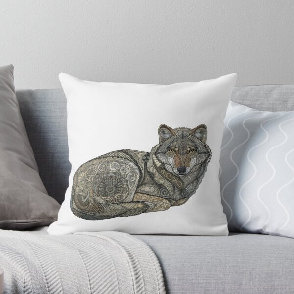 Norse Wolf Throw Pillow