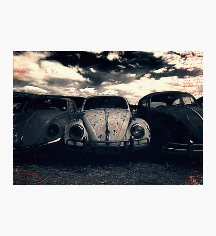 The Three Amigos: VW Beetle Graveyard, Wales, UK Photographic Print