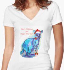 Christmas 'Kandy' Kangaroo Fitted V-Neck T-Shirt