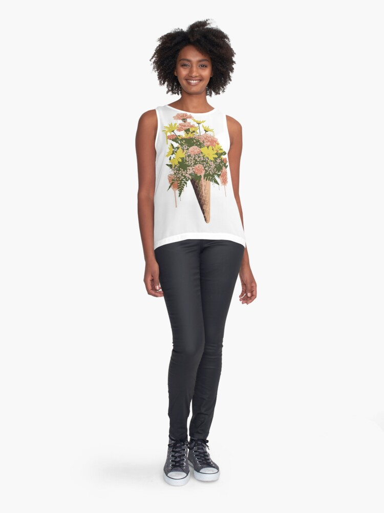 Alternate view of Spring Flowers and Ice Cream Sleeveless Top