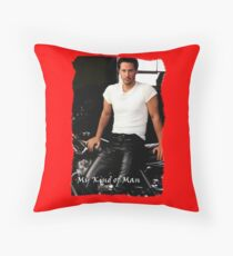 My Kind Of Man (Keanu Reeves Biker on Black and Red) Throw Pillow