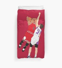Derrick Rose Dunk On Goran Dragic Duvet Cover
