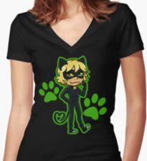 Catnoir Women's Fitted V-Neck T-Shirt