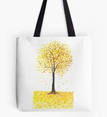 falling golden ginkgo leaves Tote Bag