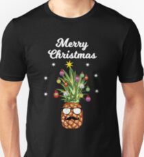 Pineapple Tree Merry Christmas Santa Claus Reindeer Unisex T-Shirt