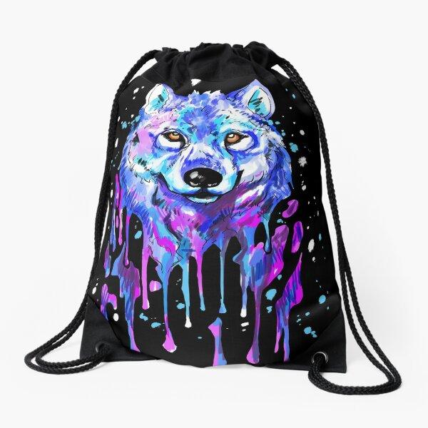 Water Color Splash Wolf Drawstring Bag