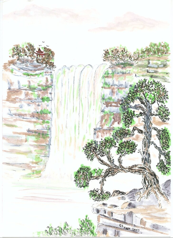 A chinese waterfall by GEORGE SANDERSON