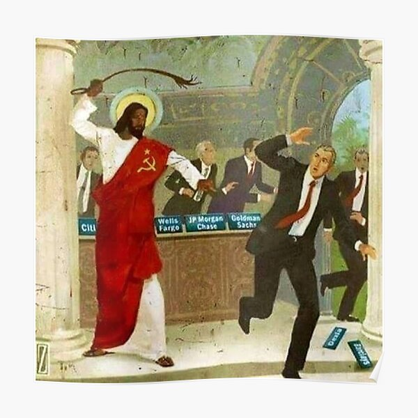El comunista Jesús negro azota a los banqueros de Wall Street Póster