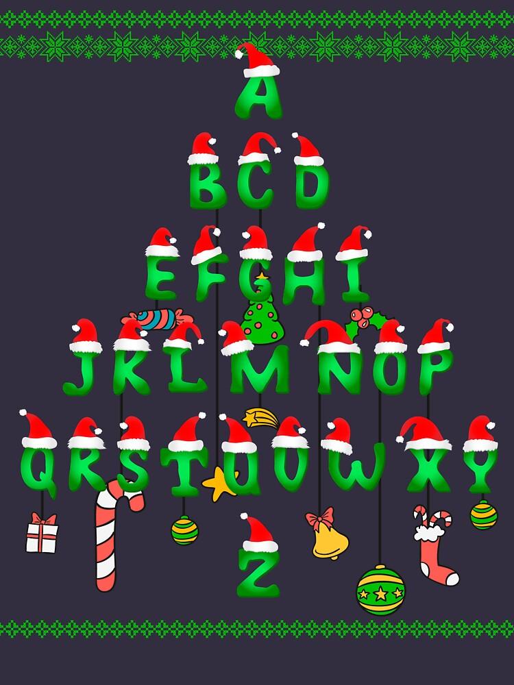 Ugly Sweater Cute Xmas alphabet christmas tree by bestdesign4u